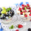 Fruit salad in glass bowls, isolated on white — Stock Photo