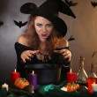 Halloween witch on dark background — Foto de stock #36697809