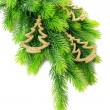 Christmas decorations on fir tree, isolated on white — Zdjęcie stockowe