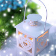 Christmas lantern  on light background — Stock Photo