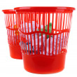 Two red garbage bins, isolated on white — Stockfoto #36699743
