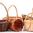 Empty wicker baskets, isolated on white — Stock Photo #36699959