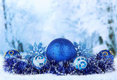 Composition of the Christmas decorations on light winter background — Foto Stock