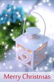 Christmas lantern on light background — Foto Stock