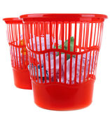 Two red garbage bins, isolated on white — Stock Photo