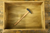 Instrument in wooden box, on color background — Stock Photo