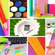 Collage of school and office supplies — Stock Photo