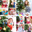 Collage of happy family celebrating Christmas at home — Stock Photo