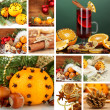 Christmas collage with tasty food, drinks and decorations — Stock Photo #36856273