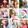 Collage of happy family celebrating Christmas at home — Stock Photo #36856317