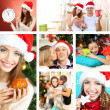 Collage of happy family celebrating Christmas at home — Stock Photo #36856325