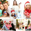 Collage of happy family celebrating Christmas at home — Stock Photo #36856333