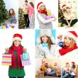 Collage of happy family celebrating Christmas at home — Stock Photo #36856339