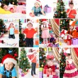 Collage of happy family celebrating Christmas at home — Stock Photo #36856343