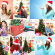 Collage of happy family celebrating Christmas at home — Stock Photo #36856349