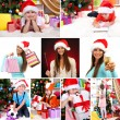 Collage of happy family celebrating Christmas at home — Stock Photo #36856353