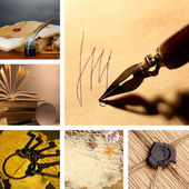 Collage in vintage style with old letters, books etc. — Stock Photo