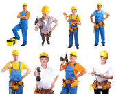 Collage of manual workers isolated on white — Stock Photo