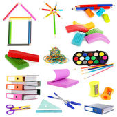 Collage of school and office supplies isolated on white — Stock Photo