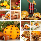 Christmas collage with tasty food, drinks and decorations — ストック写真