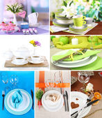 Collage of different table setting — Stock Photo