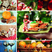 Christmas collage with tasty food, drinks and decorations — 图库照片