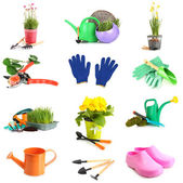 Collage of gardening equipment isolated on white — Stok fotoğraf