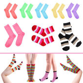 Collage of female legs in colorful socks and socks — Stock Photo