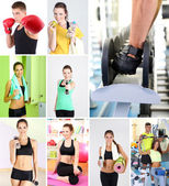 Group of people training in gym — Stock Photo