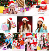 Collage van gelukkige familie vieren Kerstmis thuis — Stockfoto