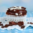 Stock Photo: Tasty cupcake on table close up
