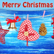 Christmas decorations on wooden background — Stock Photo