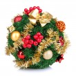 Christmas fir-tree ball with decoration isolated on white — Stock Photo #36866269