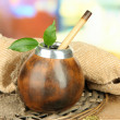 Calabash and bombillwith yerbmate on wooden table — Stock Photo #36868223