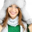 Stock Photo: Beautiful smiling girl in hat isolated on white