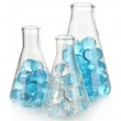 Flasks with hydrogel isolated on white — Stock Photo