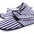 Striped slippers isolated on white — Stok fotoğraf