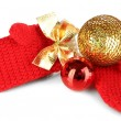 Stock Photo: Red winter mittens with Christmas toys isolated on whited