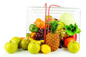 Different fruits and vegetables in metal basket isolated on white — Stock Photo
