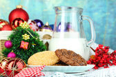 Beautiful Christmas composition with milk close-up — Stock fotografie