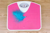 Feather on scales on table close-up — Stock Photo