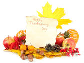 Beautiful autumn Thanksgiving Day composition, isolated on white — Foto de Stock