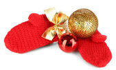 Red winter mittens with Christmas toys isolated on whited — 图库照片