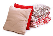 Warm plaids and pillows isolated on white — Foto de Stock