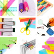 Collage of school and office supplies isolated on white — Photo