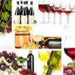 Collage of wine tasting isolated on white — Stock Photo