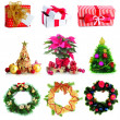 Stock fotografie: Group of Christmas objects isolated on white
