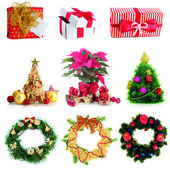 Group of Christmas objects isolated on white — Zdjęcie stockowe
