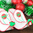 Christmas shoes with decorations on table close up — Stock Photo