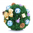 Christmas fir-tree ball with decoration isolated on white — Stock Photo